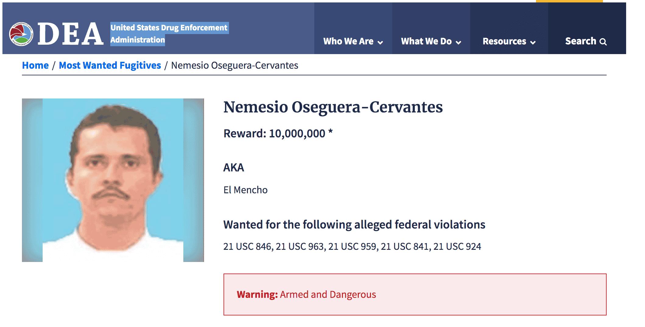 """La DEA va tras Nemesio Oseguera """"El Mencho"""", presunto líder del CJNG"""